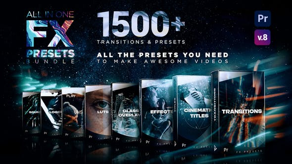 Presets Bundle for Premiere Pro : Transitions, Titles, VFX, VHS, LUTs, Logo