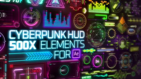 Cyberpunk HUD Elements for After Effects